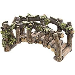 Darice Arched Log-Like Fairy Garden Bridge with Ivy