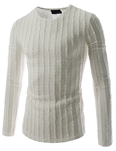 (THK02) Mens Slim Fit Twist Tee Crew Neck Lightly See-Through Stretchy Tshirts WHITE US S(Tag size XL)