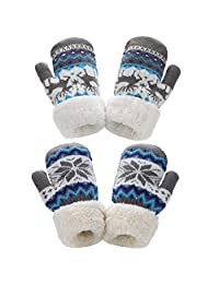 TAGVO Toddler Sherpa Lined Knit Mittens 2 Pairs Boys Girls Winter Warm Gloves