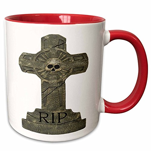 (3dRose Blonde Designs Happy and Haunted Halloween - Halloween RIP Headstone - 15oz Two-Tone Red Mug)