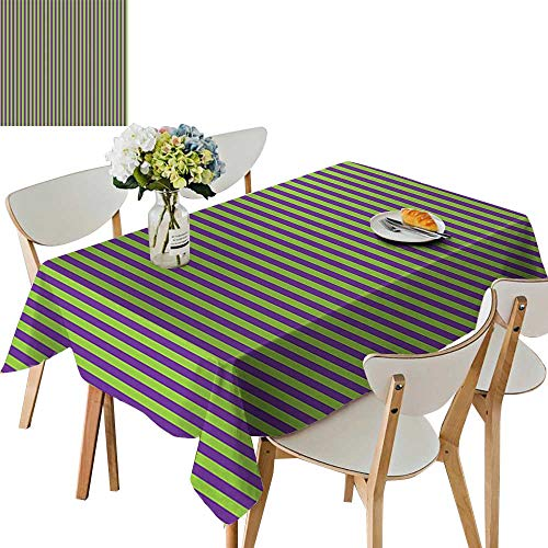 (UHOO2018 Square/Rectangle Polyester Table Cloth V Tage Retro 50s 60s Style Strip Wallpaper Image Royal Blue Lime Easy Care Spillproof,50 x 72inch)