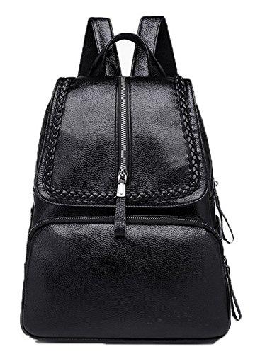 PU Daypacks TSFBH181014 Dos Tresser Cuir Mode Femme de Sacs Noir Randonnée AalarDom Daypack à 574wzqw