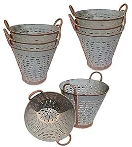 Conjunto de 8grande Vintage cubos de oliva, 16pulgadas, auténticos cesta de oliva, interior al aire libre rústico macetero, Farmhouse Decor, puerta delantera porche y Patio Planter