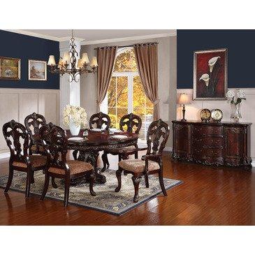 Homelegance Deryn Park 8 Piece Oval Pedestal Dining Room Set in Cherry
