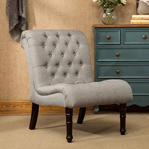 Roundhill Furniture AC191GY Rouen Rolled Back Button Tufting Grey Armless Slipper Chair