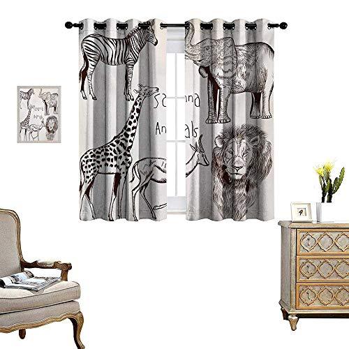 Brown Zebra Cream (Safari Room Darkening Wide Curtains Collection of Tropic African Asian Wild Savannah Animals Lion Giraffe Zebra Graphic Decor Curtains by W63 x L45 Cream Brown)