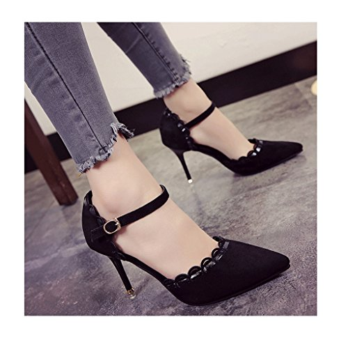 Stiletto Shoes Black Suede Vintage Shallow Pointed Feminine Color Sweet Shoes 35 Ladies Toe Mouth Heel Sexy Size wfUFIv