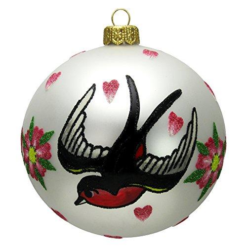 Love Bird Ornament (Love Bird Tattoo Glass Ball Christmas Tree Ornament)