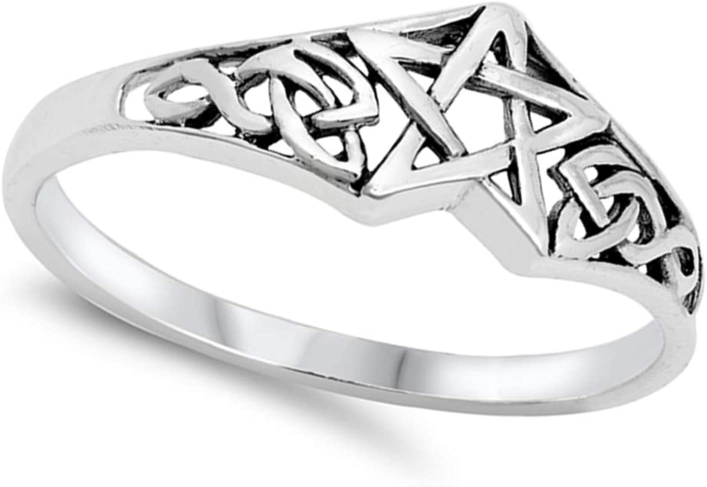 Celtic Knot Star Unique Ring New .925 Sterling Silver Band Sizes 4-10