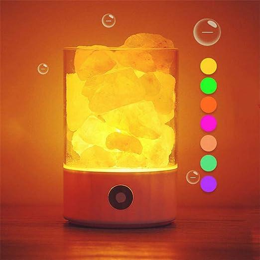 SUTIANZHANG Lámpara de Sal del Himalaya, luz de Noche purificador ...