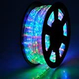 50Ft 2-Wire RGB Red Green Blue Yellow Multi Colors 546 LED Bulbs Rope Tube Light w/ Power Cord Connectors Cuttable for Garden Holiday Party Restaurant Cafe Decor