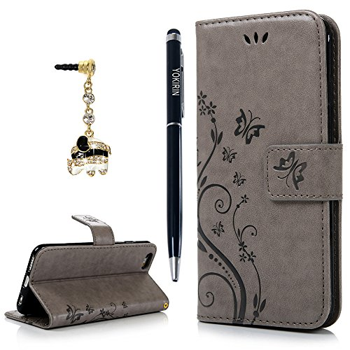 Iphone 6 Case  Iphone 6S Case  Yokirin Premium Soft Pu Leather Notebook Wallet Cover Embossed Flower Butterfly With Wrist Strap Stand Function Card Holder And Id Slot Flip Folio Protective Skin  Gray