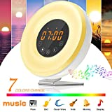 Wake Up Light Alarm Clock SOLMORE LED Digital Alarm Clock with FM Radio Sunrise Simulation,Touch Control 7 Colors Night Light,6 Nature Sounds for Bedrooms Bedside and Kids Digital Clock(2018 Upgraded)