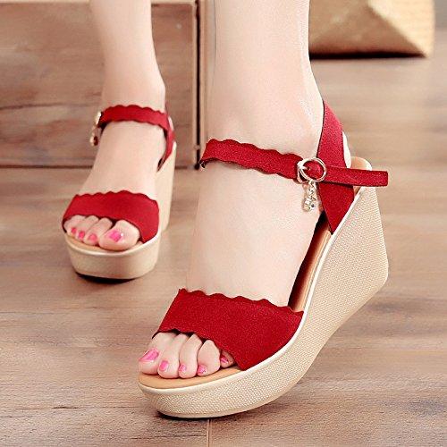 ZPPZZP La sig.ra man-made in pendenza con sandali di spessore di foratura selvaggio stile romano 35EU Nero