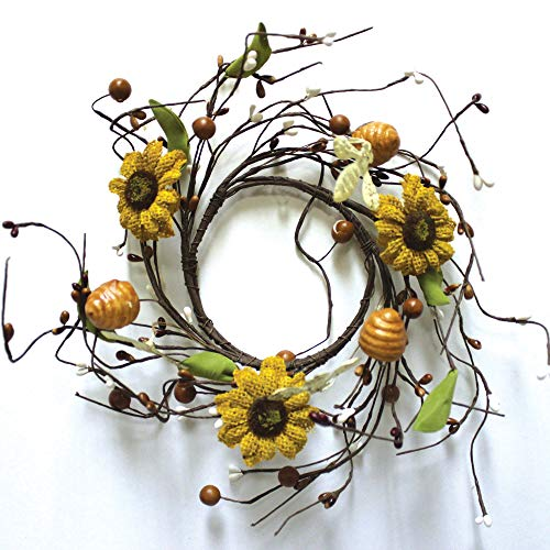 A Cheerful Giver A Burlap Sunflower Candle Ring W/Iron Bee, Honeycomb, Pip & Leaf, Multi