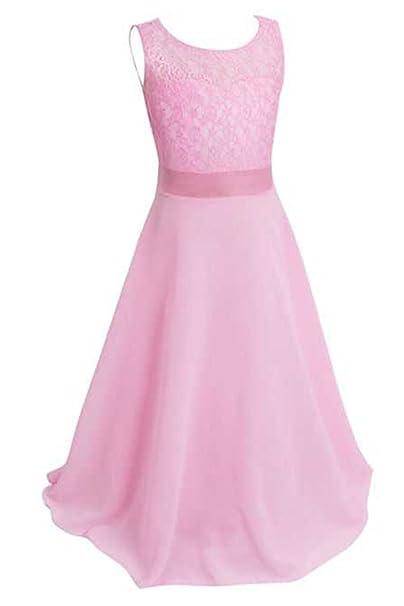 2330e5512ad6 YMING Ragazze abito elegante pizzo lungo corteo Rosa 13 14 anni  Amazon.it   Abbigliamento