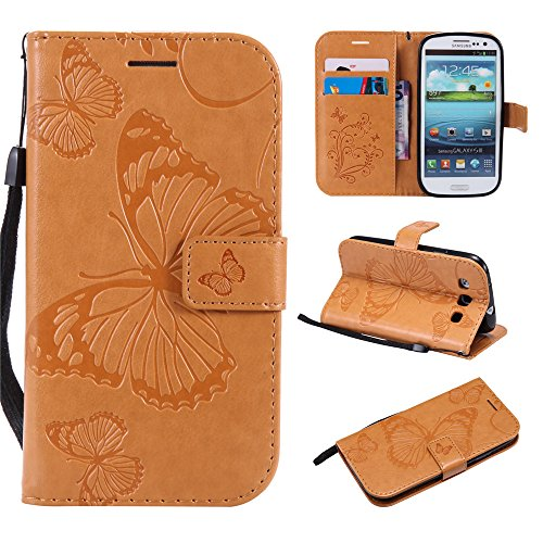 S3 Wallet Cases,IVY [3D Butterfly] Galaxy S3 PU Leather Cover Wallet Phone Case For Samsung S 3 - Yellow (Galaxy S3 Flip Case Yellow)