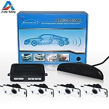 Auto safety Car Reverse Backup Radar System parking sensor kit ,LED Dispaly + BIBI Voice Alert +4 sensors+4 colors for Universal Auto Vehicle (black3)