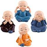 4pcs Cute Little Monks Figurine Resin Creative Crafts Ornament Buddha Kung Fu Monk Figurines Automotive Home Car Interior Display Decoration Decor Lovely Dolls Toy Gift
