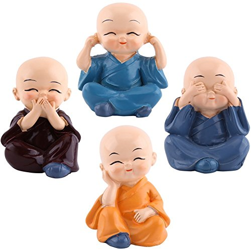 4pcs Cute Little Monks Figurine Resin Creative Crafts Ornament Buddha Kung Fu Monk Figurines Automotive Home Car Interior Display Decoration Decor Lovely Dolls Toy Gift by AELLY