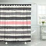 Light Pink and Gold Shower Curtain Emvency Shower Curtain Watercolor Pastel Pink Light and Dark Gray Stripes Brush Waterproof Polyester Fabric 72 x 72 Inches Set with Hooks