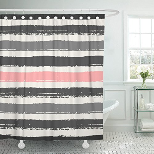 Emvency Shower Curtain Watercolor Pastel Pink Light and Dark Gray Stripes Brush Waterproof Polyester Fabric 72 x 72 Inches Set with Hooks (Coral And Shower Gray Curtain)