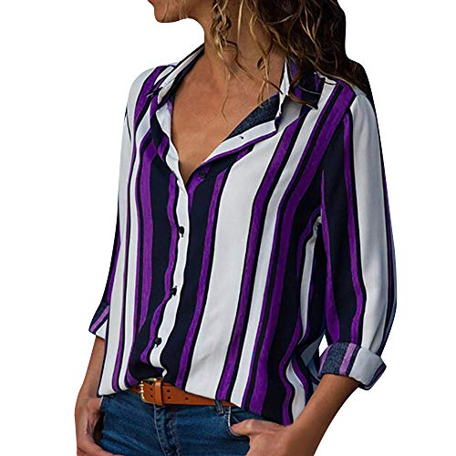 EOWEO Women Casual Long Sleeve Turn-down Collar Button Up Striped Shirt Blouse PP/M