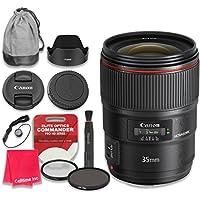 Canon EF 35mm f/1.4L II USM Lens with Elite Optics Commander Pro HD Series Ultra-Violet Protector UV Filter & Circular Polarizer CPL Multi-Coated Filter - International Version