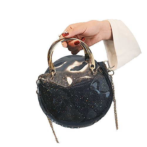 female 2018 Messenger bag laser transparent Black bag Fashion semi circle chain shoulder bag qBrBIgSvw