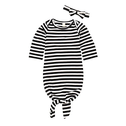 Hatoys 2PCS Infant Baby Boys Girls Pajamas Striped Sleeping