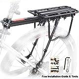Bike Rear Rack, Bicycle Luggage Rack Aluminum Cycling Carrier Rack Mountain Bike MTB Luggage Cargo Rack with Reflector