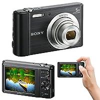 Sony Cyber-shot DSC-W800 20.1 MP Digital Camera with 5x Optical Zoom and Full HD 720p Video (Black) - International Version + 7pc Bundle 8GB Accessory Kit w/ HeroFiber Ultra Gentle Cleaning Cloth