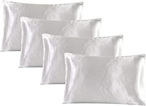 famibay Satin Pillowcase for Hair and Skin,4 Pack Queen Size Pillow Cases-Silk Satin Cooling Pillow Covers with Envelope Closure 20x30 inches Off White