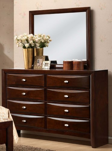 Finish Dresser Mirror Merlot (Roundhill Furniture Emily 111 Contemporary Solid Wood Construction Dresser and Mirror, King, Merlot)