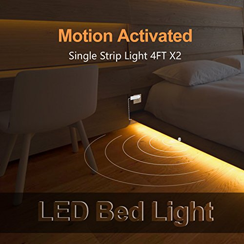 Under Bed Light BBOUNDER Motion Activated LED Bed Lighting with Motion Sensor and 2 Adapter Dimmable Night Light for Cabinets Stairs Bedroom Bathroom and Bedsides