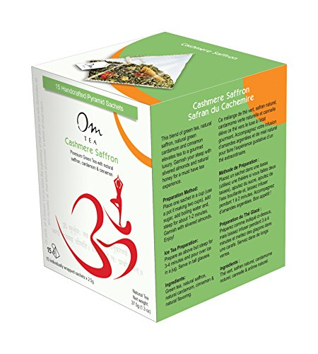 Saffron Green Tea, Premium Darjeeling Green Tea with Natural Saffron, Ashwagandha Root, Natural Green Cardamom and Cinnamon, 15 Count Box of Silken Pyramid Tea Bags. ()