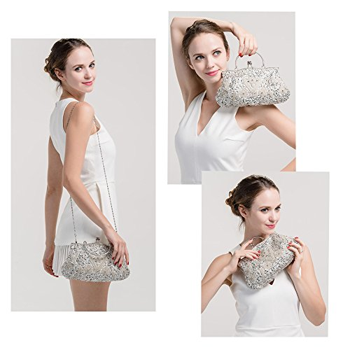 Seed Bag Harson 11 Beaded Handbag Soft amp;Jane Premium Colors Vintage Clutch Sequin Evening White Available A8tq8