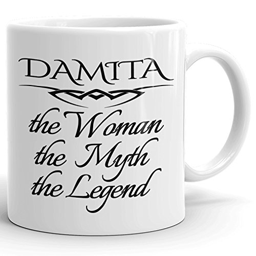 Best Personalized Womens Gift! The Woman the Myth the Legend - Coffee Mug Cup for Mom Girlfriend Wife Grandma Sister in the Morning or the Office - D Set 4