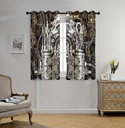 iPrint Stylish Window Curtains,Modern Decor,Two Cylinder Engine Engineer Motors Cars Lovers Inspired Image Photo,Grey and Dark Brown,2 Panel Set Window Drapes,for Living Room Bedroom Kitchen Cafe (Cylinder 55w)