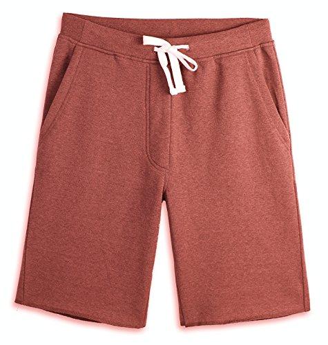 (HARBETH Men's Casual Soft Cotton Elastic Fleece Jogger Gym Active Pocket Shorts Rusty L)