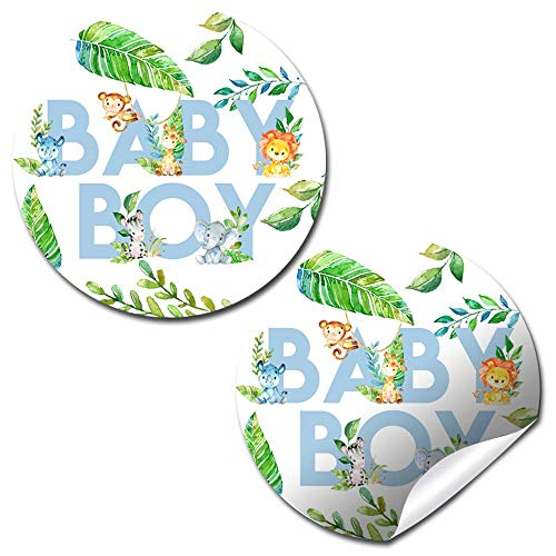 Watercolor Jungle Animals Baby Sprinkle Baby Shower for Boys Thank You Sticker Labels, 40 2