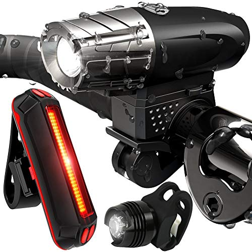 CleanDell USB Rechargeable Bike Light Set - LED Bicycle Headlight and Free Tail Light, Waterproof IPX-5 Front and Rear Bike Lights for Safety Cycling