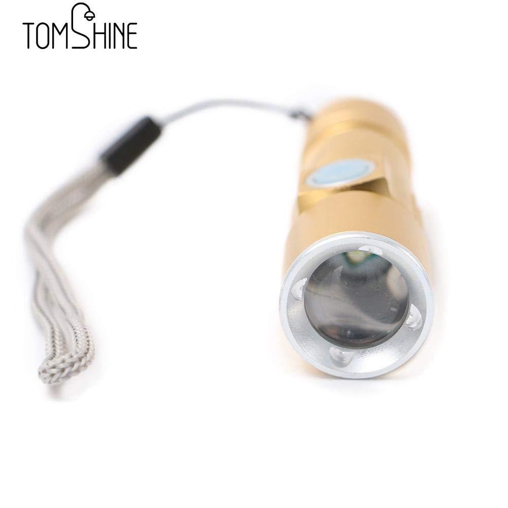 Mini-Taschenlampe mit 3 Modi, Aluminiumlegierung, wiederaufladbar, verstellbar, wasserdicht, Schwarz