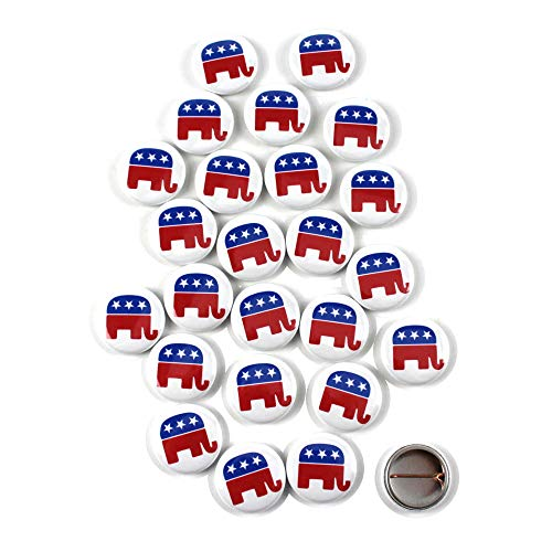 Republican Elephant Pin (Republican symbol Pinback Buttons - 1 Inch Round - 25 Pack)