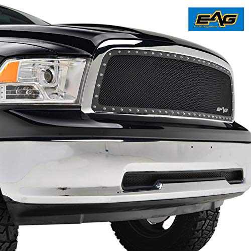 EAG Insert Mesh Grille Front Hood Black Stainless Steel Fit for 09-12 Dodge Ram 1500