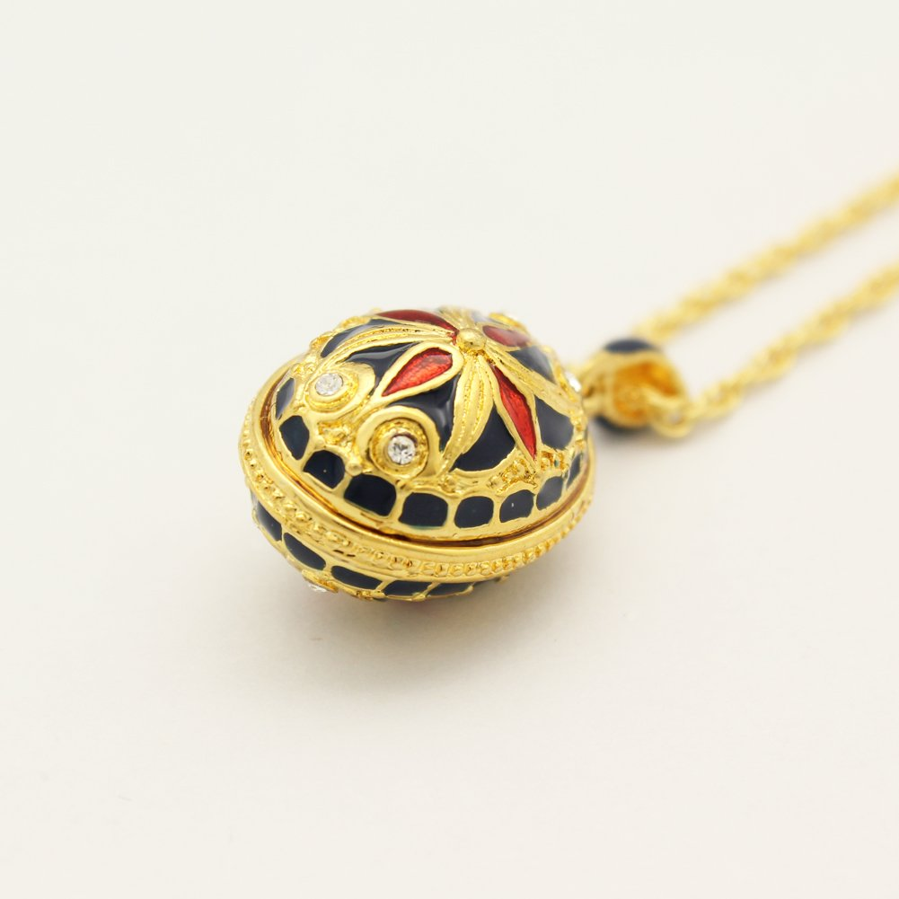 MYD Jewelry Happy Easter Day Russian Faberge Style Easter Egg Pendant Necklaces
