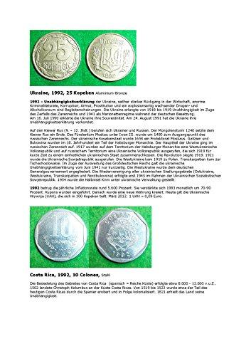 Kalenderblatt zum Jahr 1992: Zur Geschichte der Ukraine und Costa Ricas (25 Kopeken der Ukraine und 10 Colones von Costa Rica des Jahres 1992) (German Edition)
