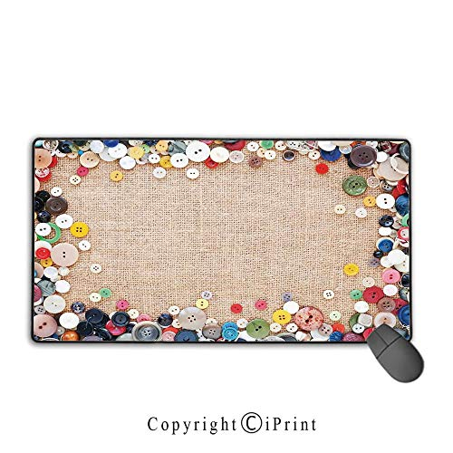 Gaming Mouse pad,Vintage,Buttons Collection Fabric Texture Canvas Frame Sewing Needlecraft Contemporary Picture,Light Brown, Suitable for Offices and Homes, Mouse pad with Lock,9.8