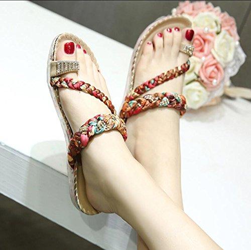 KHSKX-Rojo 2Cm Nacional De Feng Shui Brocas De Verano Clip Toe Sandalias Suave Cómodo Y Elegante Chica Sandalias Calzado De Playa 41