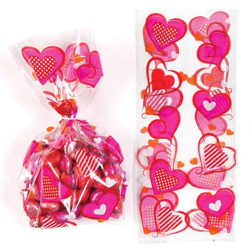 (Baker Ross Heart Cellophane Gift Bags with Twist Ties for Children - Perfect Valentines Day Party Bag Stuffer or Gift for Kids (Pack of 20))